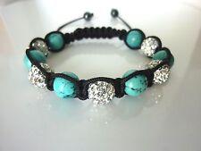 Bracelet Shamballa - Turquoise Naturelle & crystal Diamond ( bijou femme jewels)