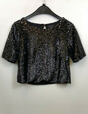 Topshop Ladies Crop Top Short Sleeve Black Metallic Design Sequins Size 8
