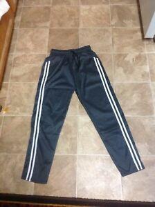 Polyester Olive Green White Stripe Active Wear Warm Up Pants sz. L/XL