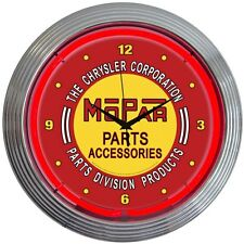 "Chrysler Mopar Parts Division Red Neon Hanging Wall Clock 15"" Diameter"
