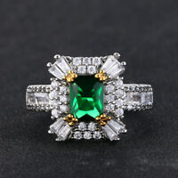 925 Sterling Silver Natural Octagon Cut 2ct Colombian Emerald Gemstone AD Ring