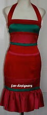 New KAREN MILLEN Satin £190 Cocktail Evening Wiggle Party Fishtail Dress Size 10