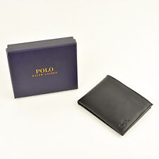 Polo Ralph Lauren Textured Black Leather Wallet Removable ID Holder
