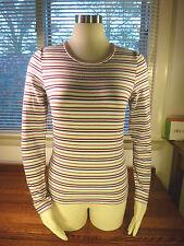 NWT Laura Ashley Indigo Blue Stripe Cotton Crew Neck Long Sleeve Shirt S $28