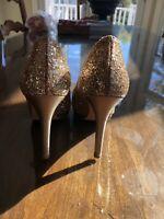 Stuart Weitzman Gold Glitter Heels, Sz 36.5