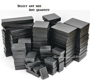Black Cotton Filled Jewelry Boxes Black Gift Boxes for Jewelry Lot 20~50~100~500