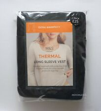 Ladies Marks & Spencer Black Extra Warm Thermal Long Sleeve Vests 2 PK Size 20