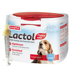 250g Puppy Milk Beaphar Lactol + Cleft / Longer Nipple Syringe Nurser Whelping