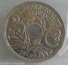 25 centimes lindauer maillechort .1939. : SUP : pièce de monnaie française