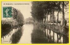 cpa 02 - Cachet SAINT QUENTIN GARE en 1909 (Aisne) Les Bords de la SOMME Pêcheur