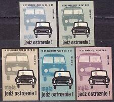 POLAND 1969 Matchbox Label - Cat.Z#954 set, Road safety - fog, go cautiously!