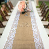 10× Vintage Burlap Hessian Lace Table Runner Rustic Wedding Party Banquet Decor