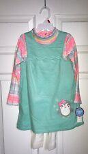 Wonder Kids Girls 3 Piece Set Corduroy Dress Print Top and Leggings Pants 4T NWT