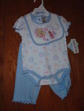 Disney 3pc Blue Cotton Pooh Bear Pant Set. Size 3-6 & 6-9 Months.