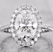New 3.10 Ct Oval Cut Halo Round U-Set Diamond Engagement Ring G,VS2 GIA Platinum