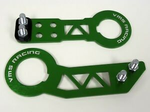VMS HONDA ACURA FRONT & REAR BILLET CNC ALUMINUM ANODIZED TOW HOOK KIT GREEN