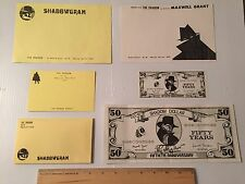 THE SHADOW DOLLAR- WALTER B. GIBSON 6 PIECE STATIONARY LOT  STREET & SMITH PULP