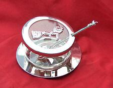 Beautiful combination of glass & nickel Honey Dish for Rosh Hashanah+Spoon