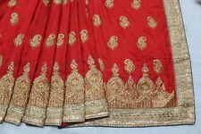 BOLLYWOOD INDIAN EMBROIDERED ART SILK KUNDAN WORK SAREE SARI BRIDAL PARTY DRESS