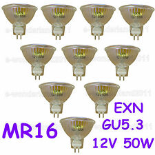 50 Watt 12V Halogen Bulbs MR16/Cover Glass GU5.3 2-Pin 50W  EXN Lamp [10 Pack]