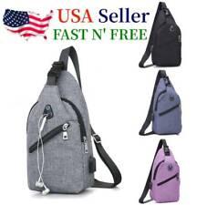 Mens Sling Chest Pack Nylon Shoulder Bag USB Charging Sports Crossbody Handbag