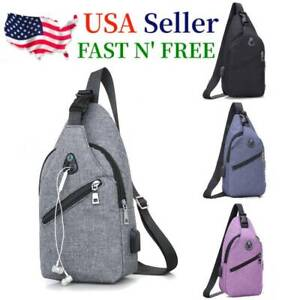 Mens Sling Chest Pack Nylon Shoulder Bag USB Charging Sports Crossbody Handbag