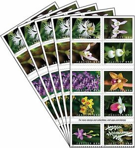 Lot of (5) USPS Wild Orchids Booklets = 100 Forever Stamps
