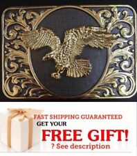 NEW HIGH QUALITY Eagle Belt Buckle Western Cowboy GOLD GRAY rectangle MEN WOMEN