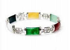 Multicolor Black White Green Red Yellow Jade 18KWGP Fortune Longevity Bracelet