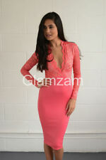 Vestiti da donna a manica lunga rosa con scollo a v