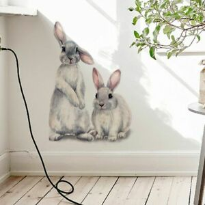 Two Cute Rabbits Wall Sticker Childrens Kids Room Decoration Removable Wallpaper
