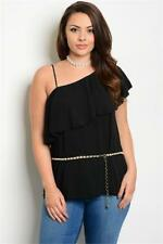 NEW..Plus Size Stylish Elegant Black One Shoulder Top with Pearl Belt..Sz20/3xl