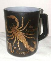 Vintage Federal Milk Glass Zodiac Scorpio Coffee Cup Mug, USA Gold on Blk