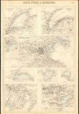 1874 ca LARGE ANTIQUE MAP- BARTHOLOMEW- LONDONDERRY, BELFAST, DUBLIN, CORK,WATER