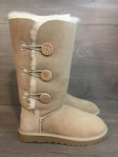 New! Womens UGG Tall Shearling Boots. Size 8. 3 Buttons. Light Tan.