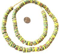 Ghana African Matched Green Millefiori Colored Recycled glass trade beads-Ghana