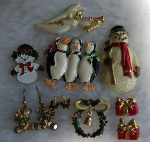 Mostly Enamel Christmas Brooches & Earrings For Pierced Ears