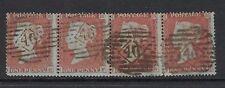 GB LINE ENGRAVED :1854 1d red-brown perf 16  N-H   SG17 used strip of four