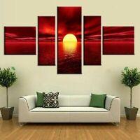 Set of 5 Split Picture 20cm Canvas Home Decor Wall Art Print Seaside&Sunset
