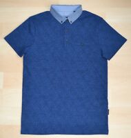 Auth Ted Baker Diamond Pattern Polo Shirt w/ Light Blue Contrast Collar Size 1-5
