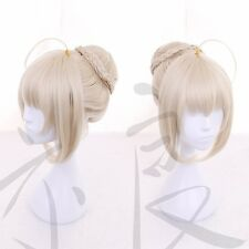 Anime Game Fate Grand Order Saber Alter Cosplay Full Wig Womens Bun Hair Wigs
