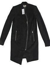 Black HELMUT by Helmut Lang Black Moleskin Crombie Asymmetric Coat Jacket P XS