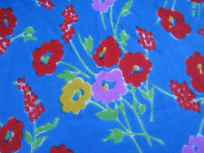 bulk lot Vintage JERSEY fabric 1960s cornflower blue FLORAL fabric