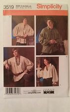 New Simplicity Pattern 3519 Unisex Pirate Renaissance Medieval Cosplay Costume