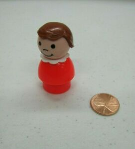 Vintage Fisher Price Little People RED GIRL Brown Brunette Hair Family Daughter