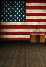 5x7ft USA Flag Stars Stripe Wall Suitcase Wood Floor Backdrops Photo Background