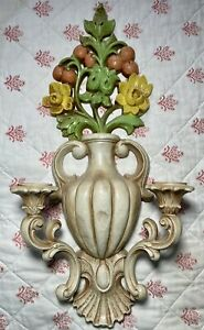 Vintage 1965 HOMCO Floral Colorful Cottage Wall Sconce Collectible Plastic Vtg