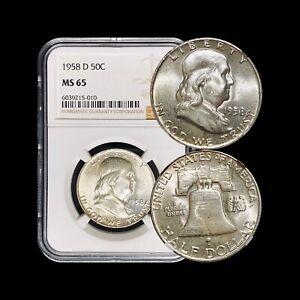 1958 D Franklin Half Dollar (Silver) - NGC MS65 (GEM UNC) - Higher Grade