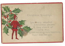 POSTCARD - VINTAGE CHRISTMAS - 1917 - SANTA'S ELF - HOLLY