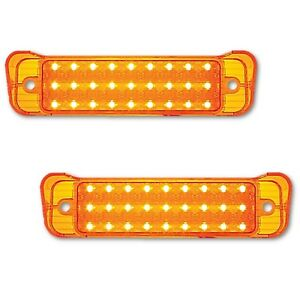 67 Chevy Impala Bel Air Biscayne LED Park Light Turn Signal Lamp Lens Pair 1967